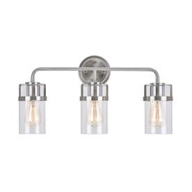 allen + roth 3-Light Nickel Industrial Vanity Light