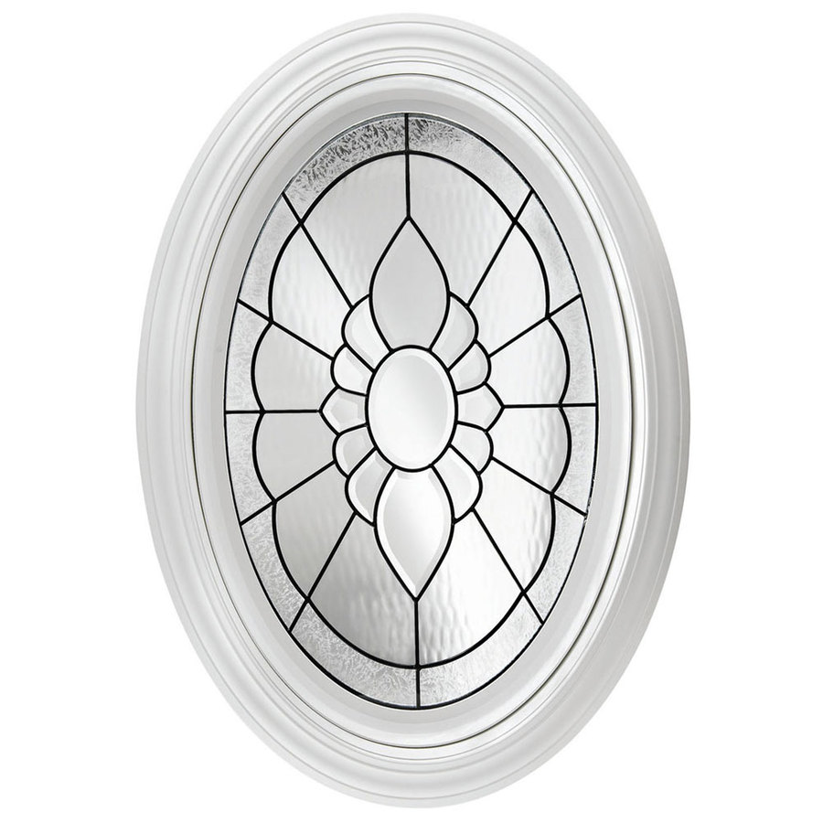 Hy-Lite 24-in x 36-in Decorative Glass Triple Pane Tempered Oval New Construction Window