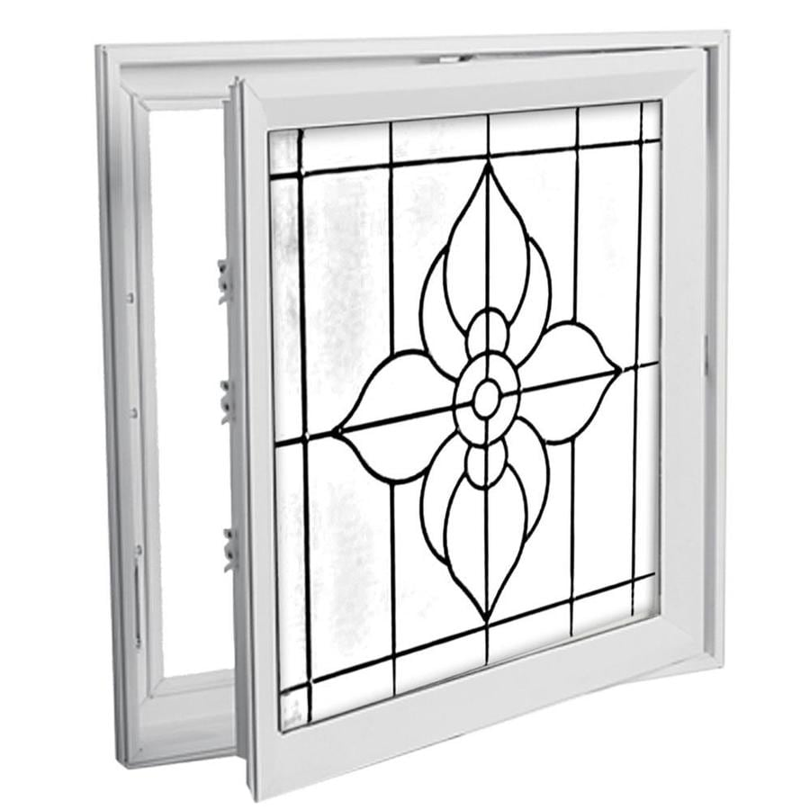 Hy-Lite 29-in x 29-in Decorative Glass Triple Pane Tempered Square New Construction Window