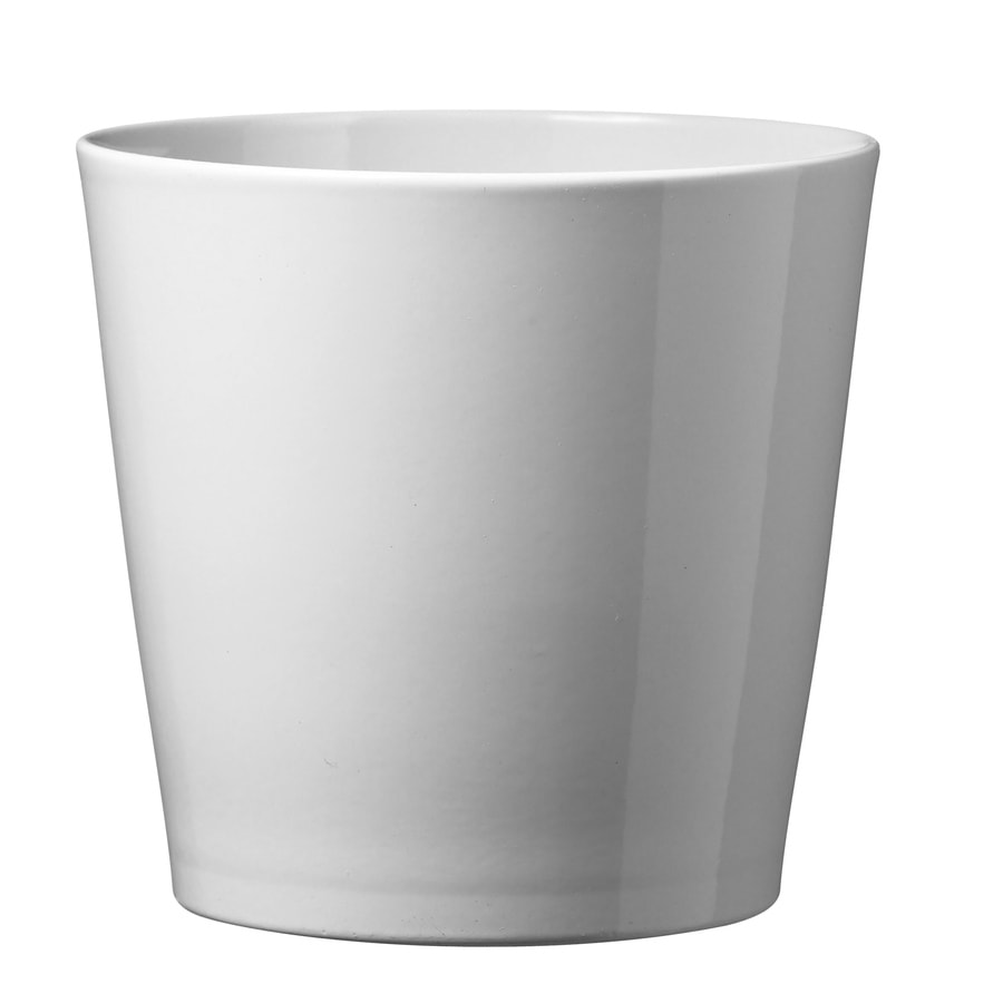 7 5 In X Shiny White Ceramic Planter