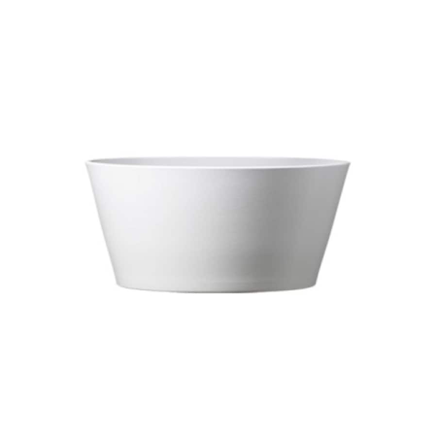7.75-in x 3.5-in Shiny White Ceramic Low Bowl Planter