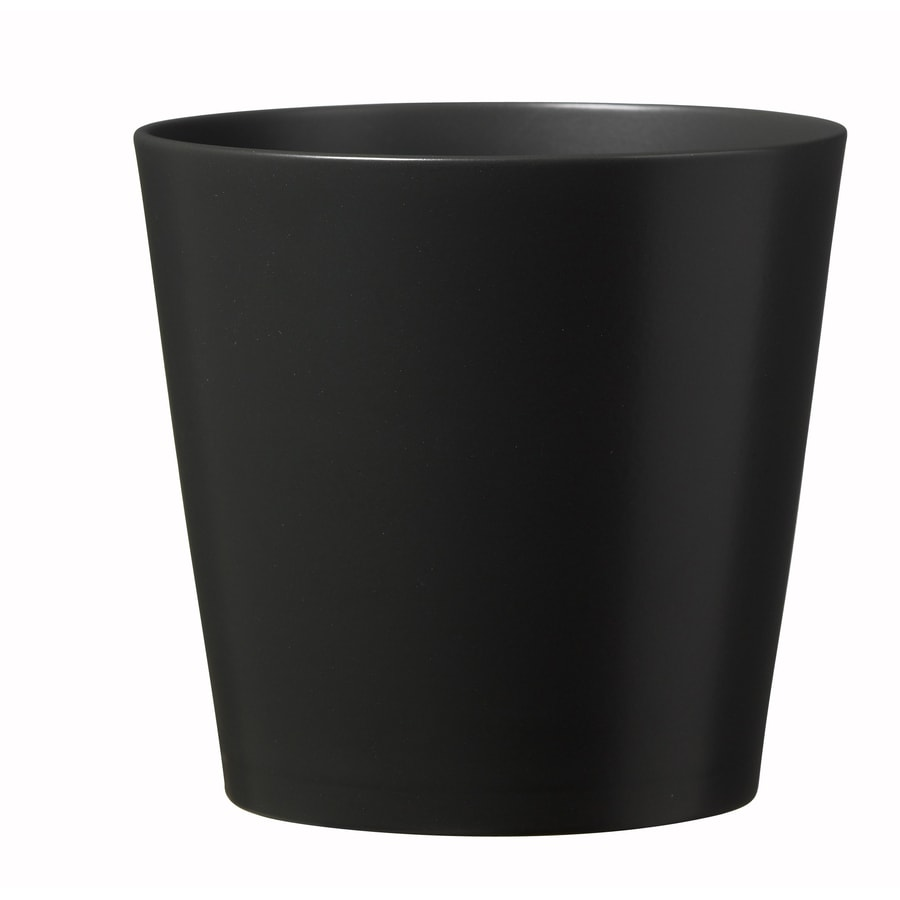 11-in x 10.6-in Matte Anthracite Ceramic Planter