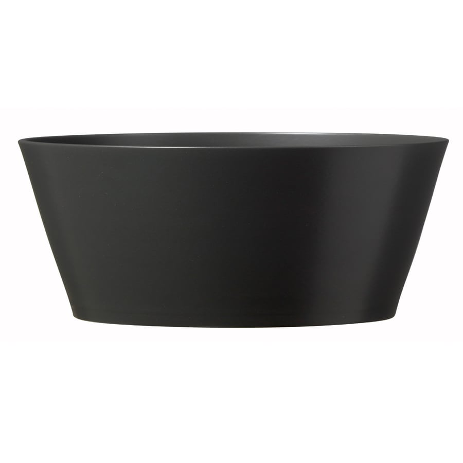 7.75-in x 3.5-in Matte Anthracite Ceramic Low Bowl Planter