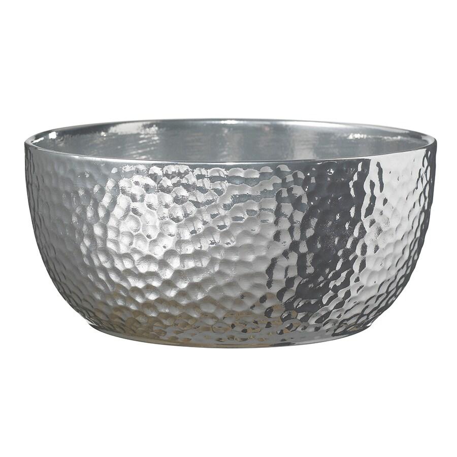 10.62-in x 5.12-in Shiny Silver Ceramic Planter