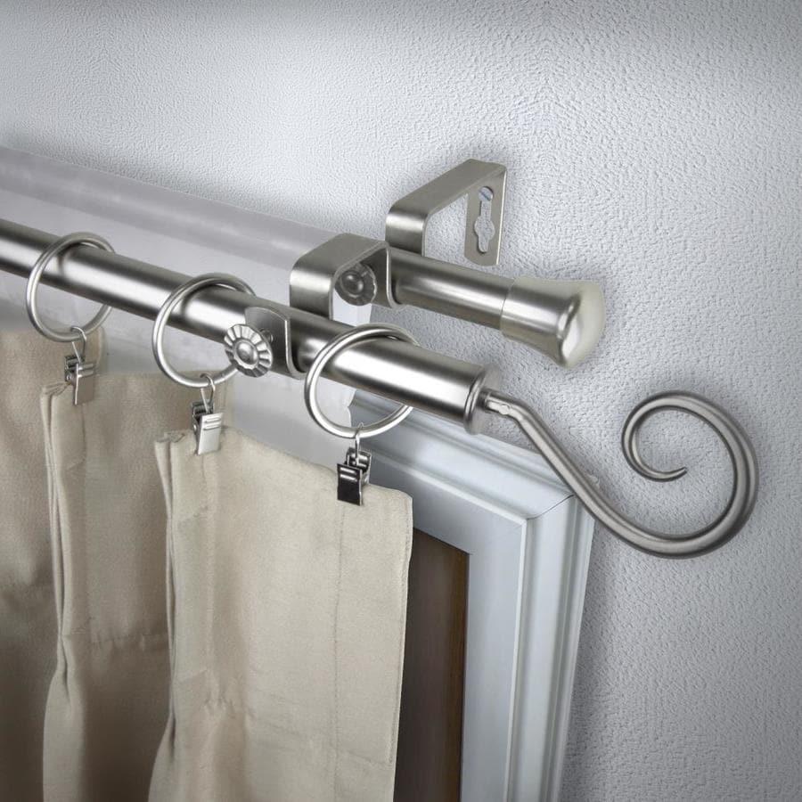 Rod Desyne Modern Curl 48-in To 84-in Satin Nickel Steel