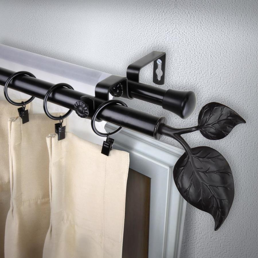 Rod Desyne 13 16 In Ivy 48 In To 84 In Black Steel Double Curtain Rod In The Curtain Rods Department At Lowes Com