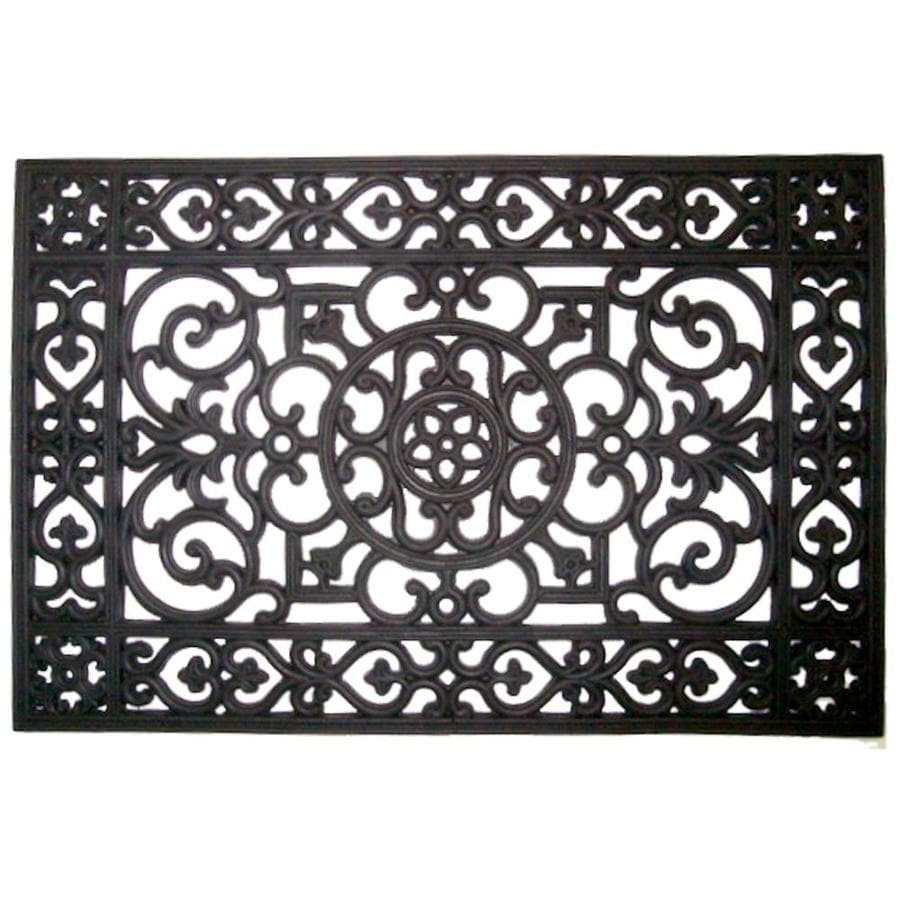 Style Selections Black Rectangular Door Mat (Common: 1-1/2-ft X 2-1/2-ft; Actual: 18-in x 30-in)
