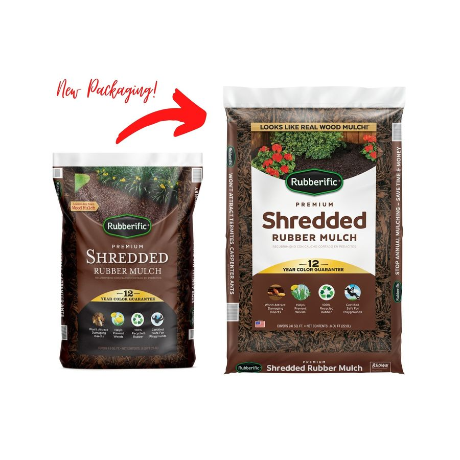 Shop Rubberific 0 8 Cu Ft Dark Brown Rubber Mulch At Lowes Com