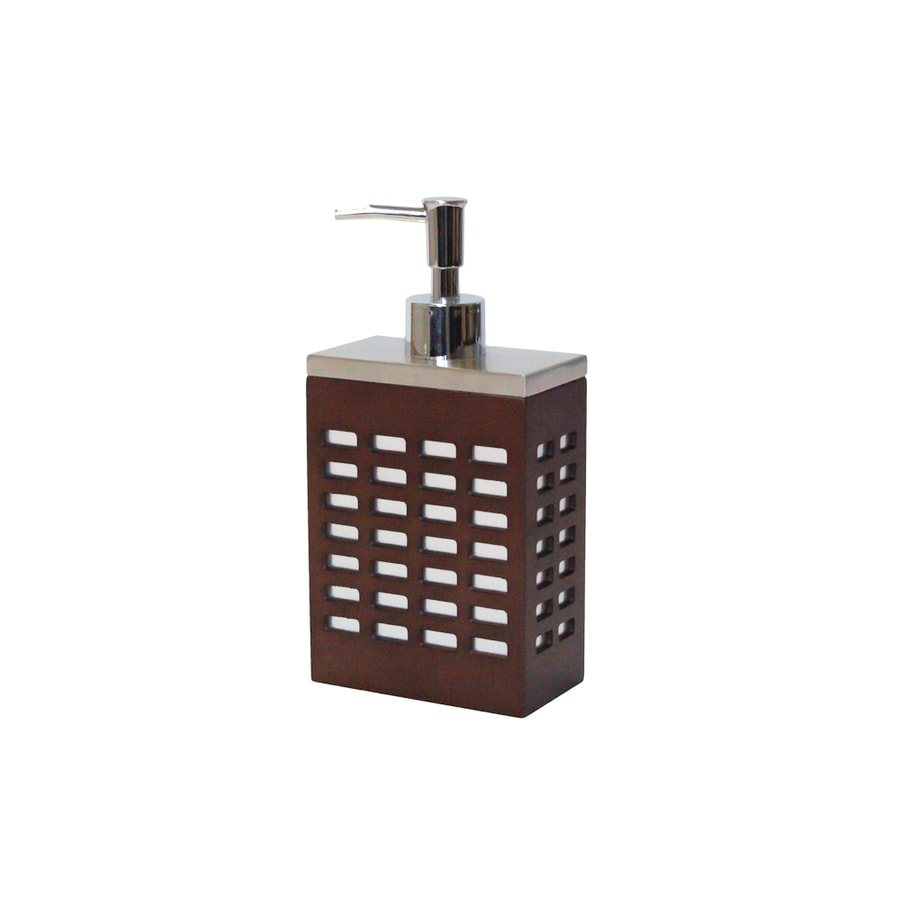 BathSense Metal Zen Natural Wood Tones Soap and Lotion Dispenser