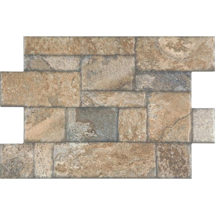 Style Selections Carmen Brown 16 In X 24 In Porcelain Cobblestone