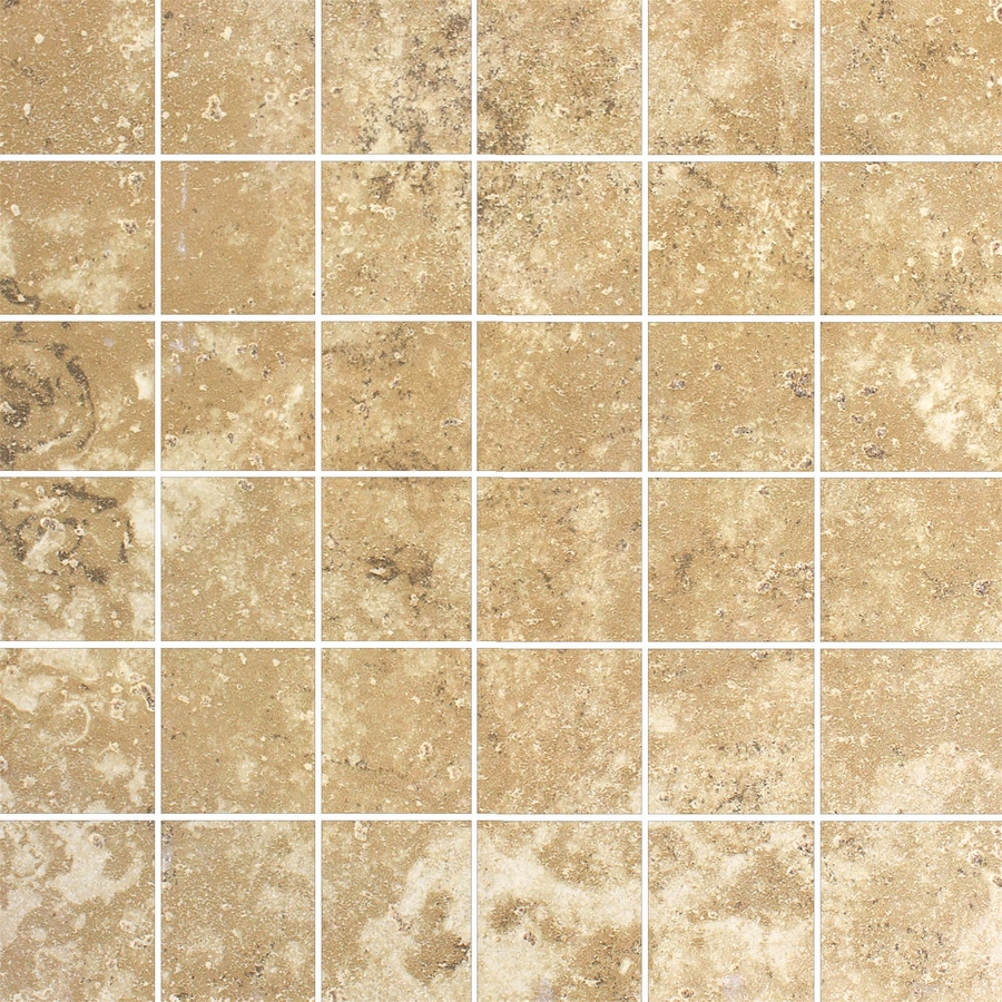 FLOORS 2000 Cometstone Cliff Tail Tan Uniform Squares Mosaic Porcelain Floor Tile (Common: 13-in x 13-in; Actual: 13.10-in x 13.10-in)
