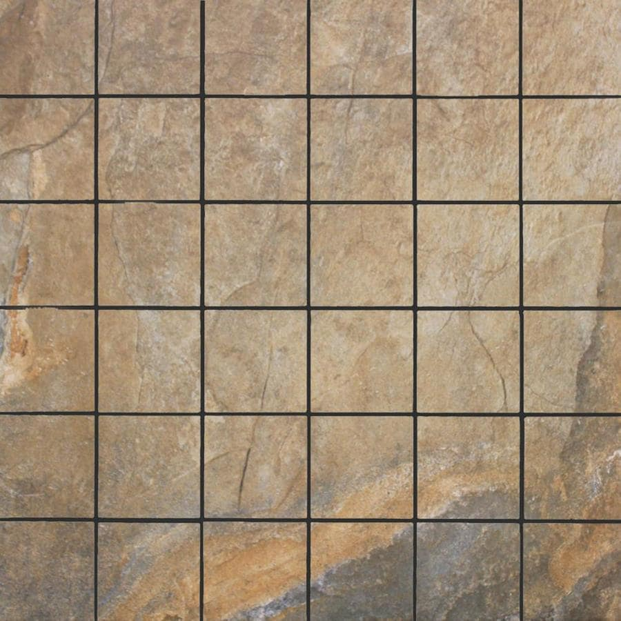 FLOORS 2000 Keystone Brown Uniform Squares Mosaic Porcelain Floor and Wall Tile (Common: 13-in x 13-in; Actual: 13-in x 13-in)