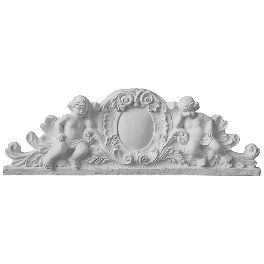 Ekena Millwork 28.5-in x 9.625-in Scroll Angel Primed Urethane Applique