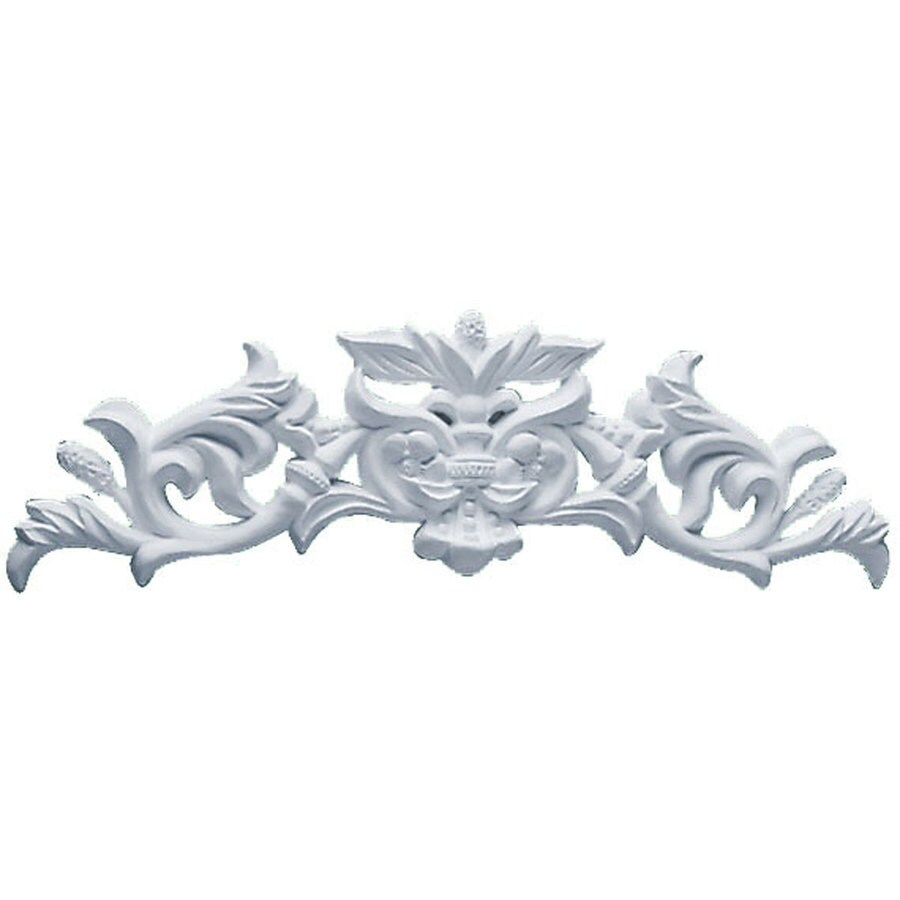 Ekena Millwork 11.75-in x 3.5-in Pearl with Scrolls Urethane Applique