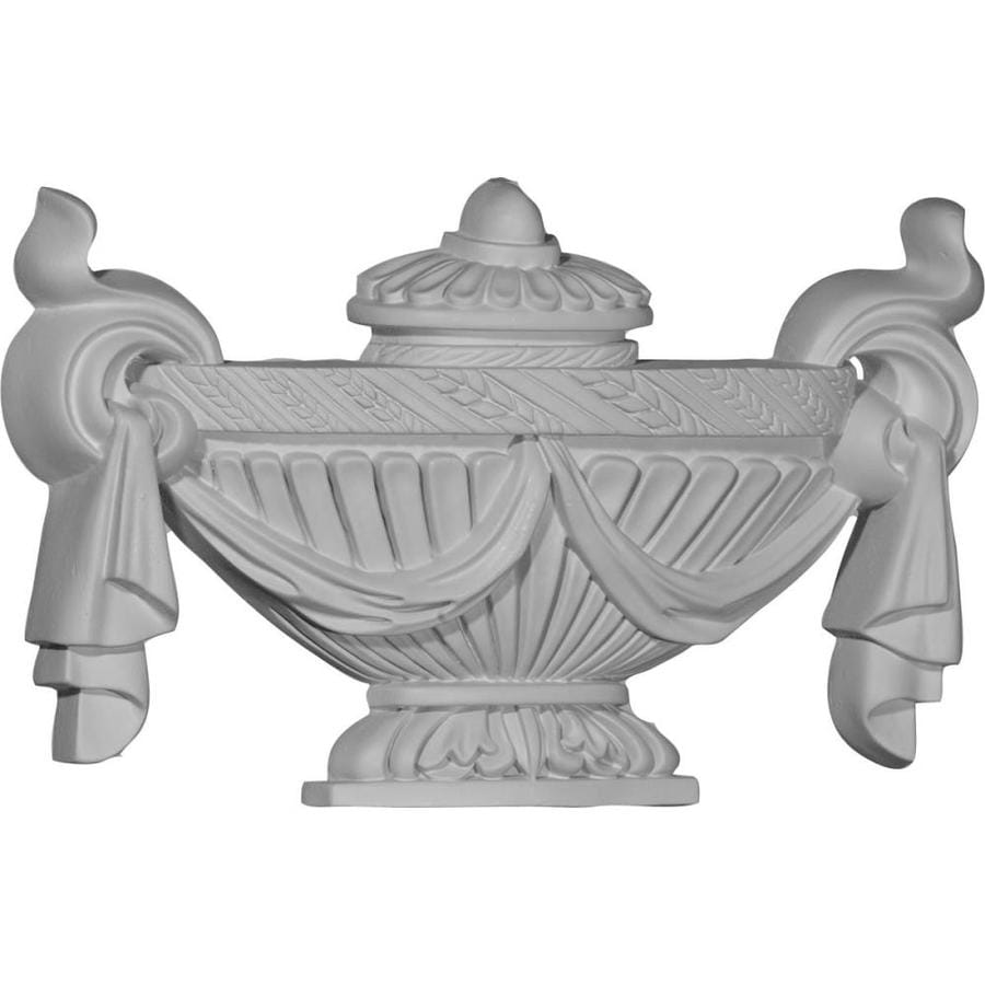 Ekena Millwork 11.375-in x 6.5-in Salem Urn Primed Urethane Applique