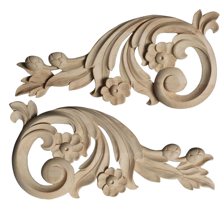 Ekena Millwork 9.75-in x 4.75-in Springtime Scrolls Wood Applique