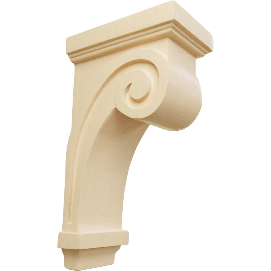 Ekena Millwork 3.25-in x 9-in Maple Scroll Wood Corbel