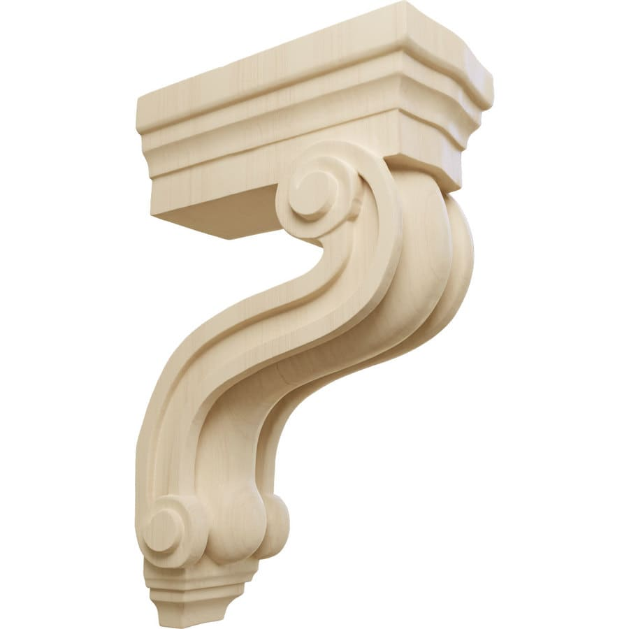 Ekena Millwork 3.375-in x 10.5-in Rubberwood Los Angeles Wood Corbel