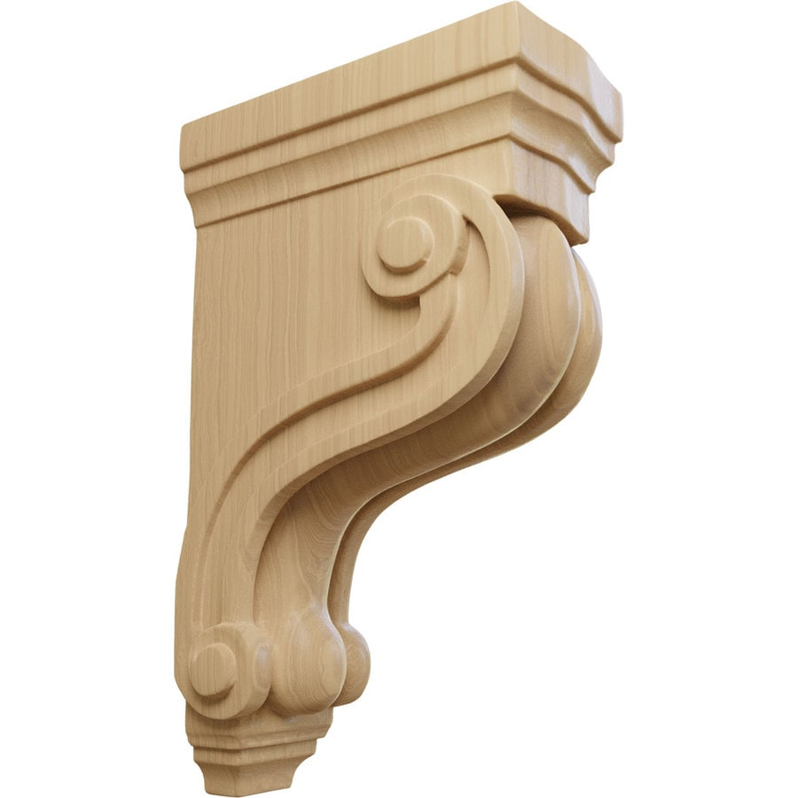 Ekena Millwork 3.375-in x 10.5-in Boston Traditional Scroll Cherry Corbel