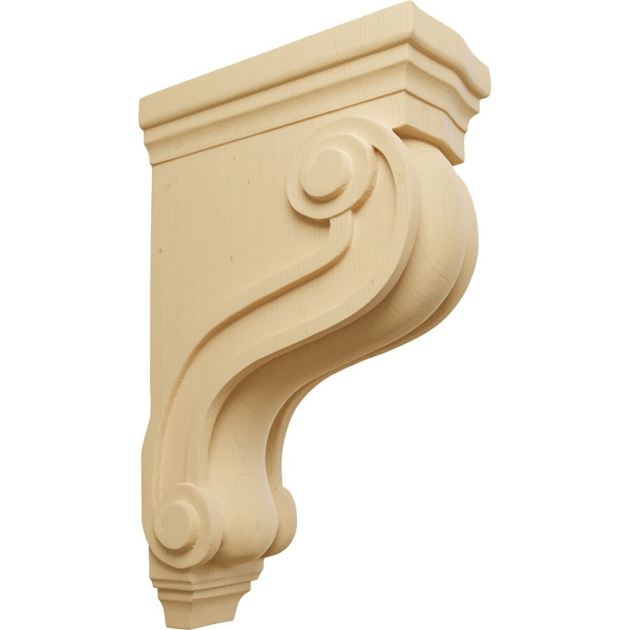 Ekena Millwork 3.875-in x 13-in Boston Traditional Scroll Alder Corbel