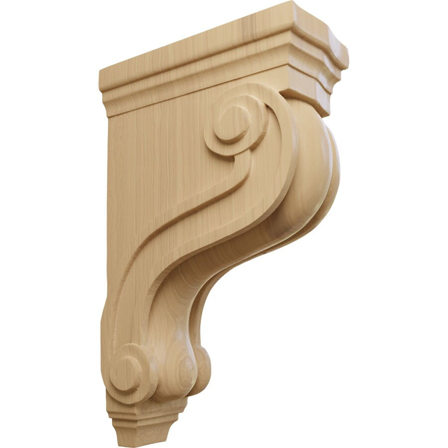 Ekena Millwork 3.875-in x 13-in Cherry Boston Traditional Scroll Wood Corbel