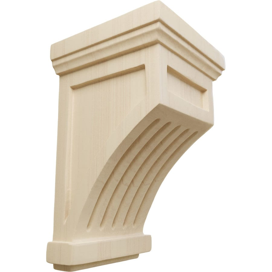 Ekena Millwork 4.25-in x 7-in Rubberwood Fluted Mission Wood Corbel