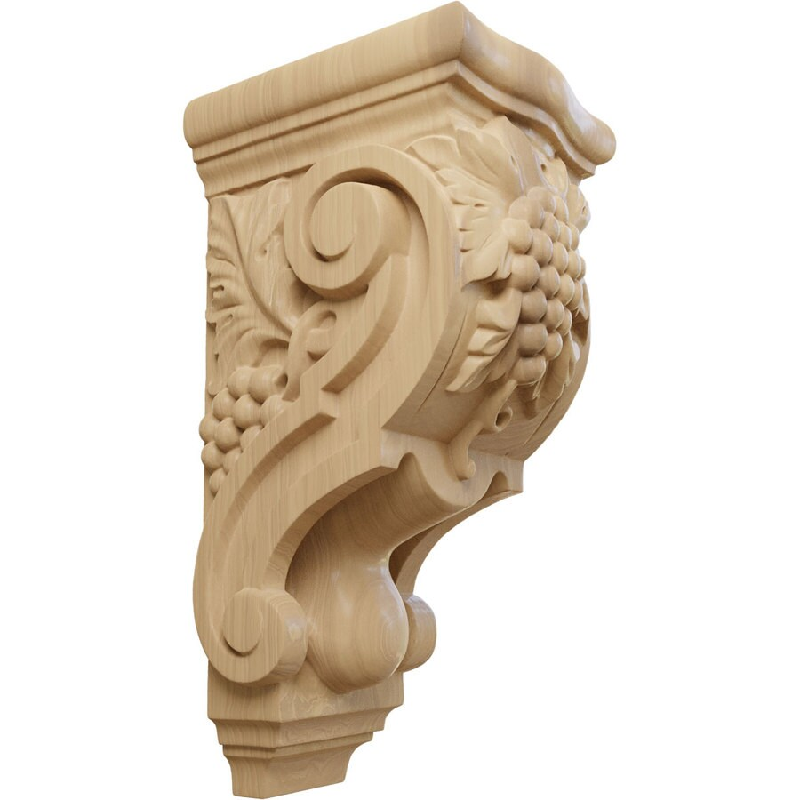 Ekena Millwork 4.875-in x 10.875-in Cherry Grape Bunches Wood Corbel