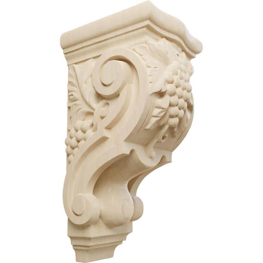 Ekena Millwork 4.875-in x 10.875-in Lindenwood Grape Bunches Wood Corbel