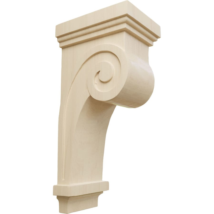 Ekena Millwork 4.5-in x 12-in Rubberwood Scroll Wood Corbel