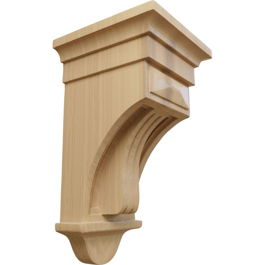 Ekena Millwork 6.5-in x 12-in Cherry Raised Fluting Wood Corbel