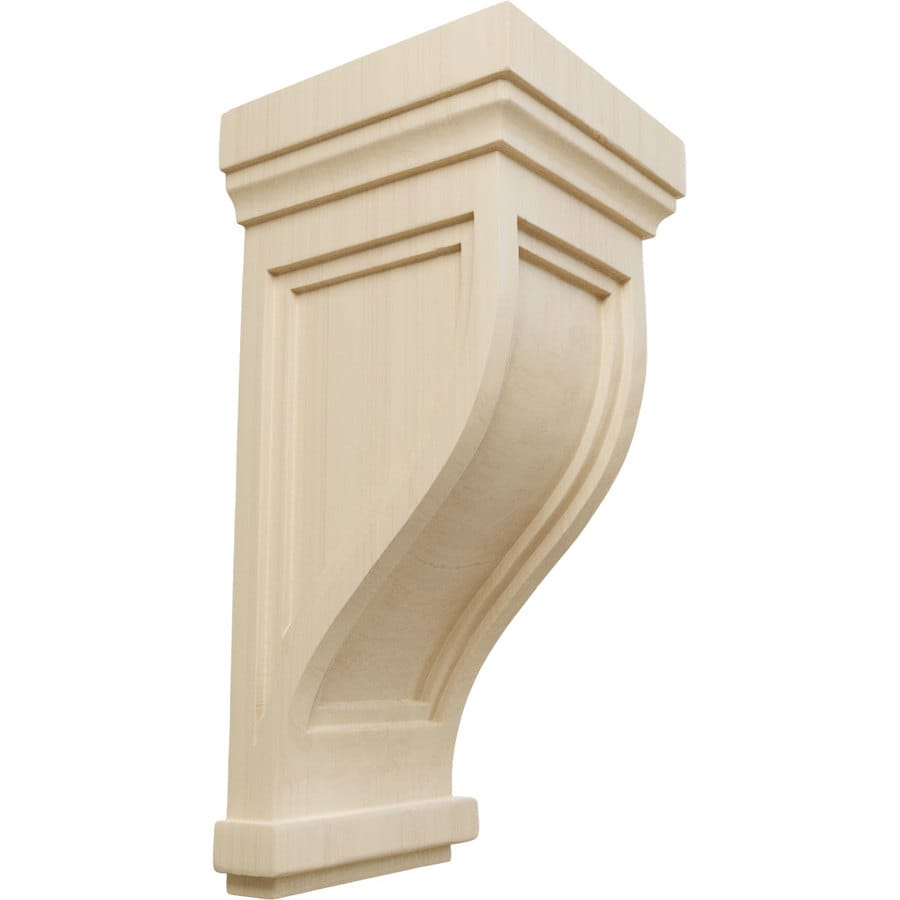 Ekena Millwork 6.5-in x 14-in Rubberwood Traditional Recessed Wood Corbel