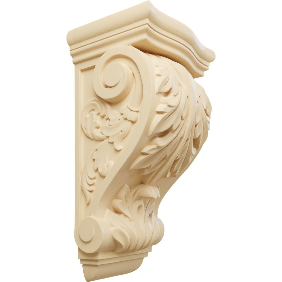 Ekena Millwork 8-in x 15-in Maple Acanthus Wood Corbel