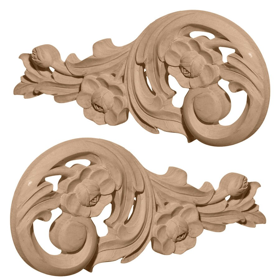 Ekena Millwork 7.5-in x 3.5-in Springtime Scrolls Wood Applique