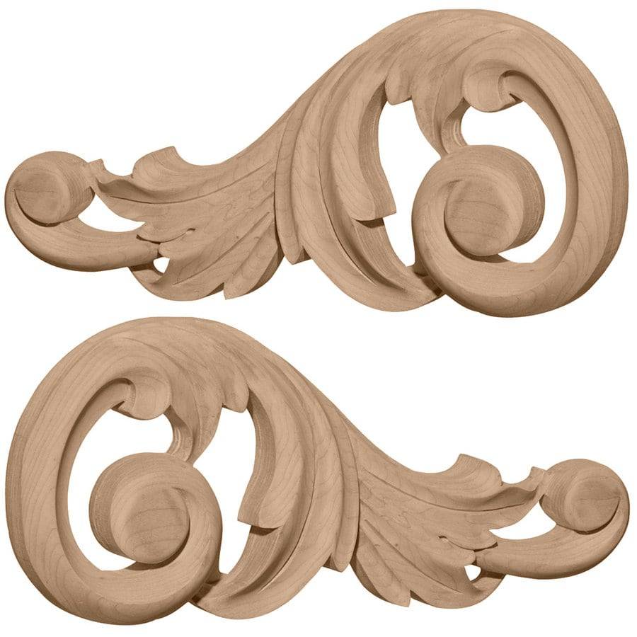Ekena Millwork 7.125-in x 3.125-in Swaying Scrolls Wood Applique