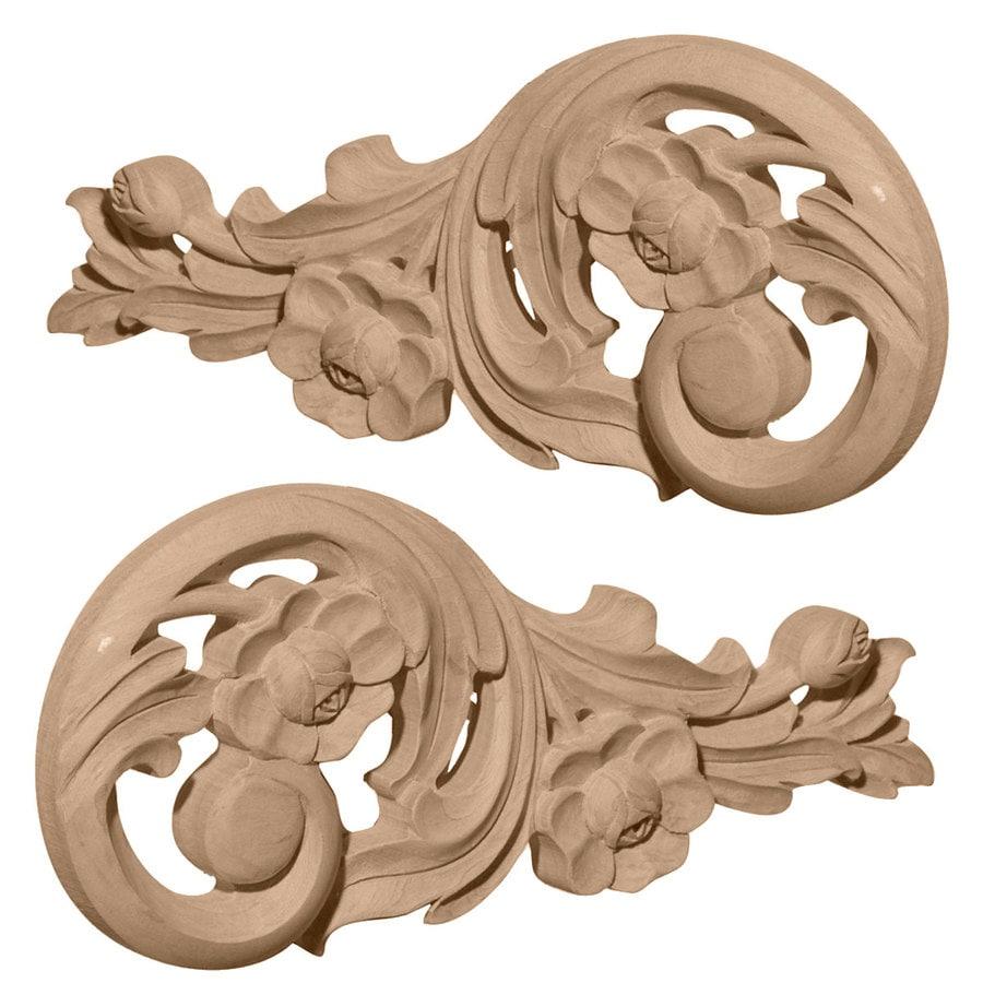 Ekena Millwork 9.75-in x 4.75-in Springtime Scrolls Wood Applique