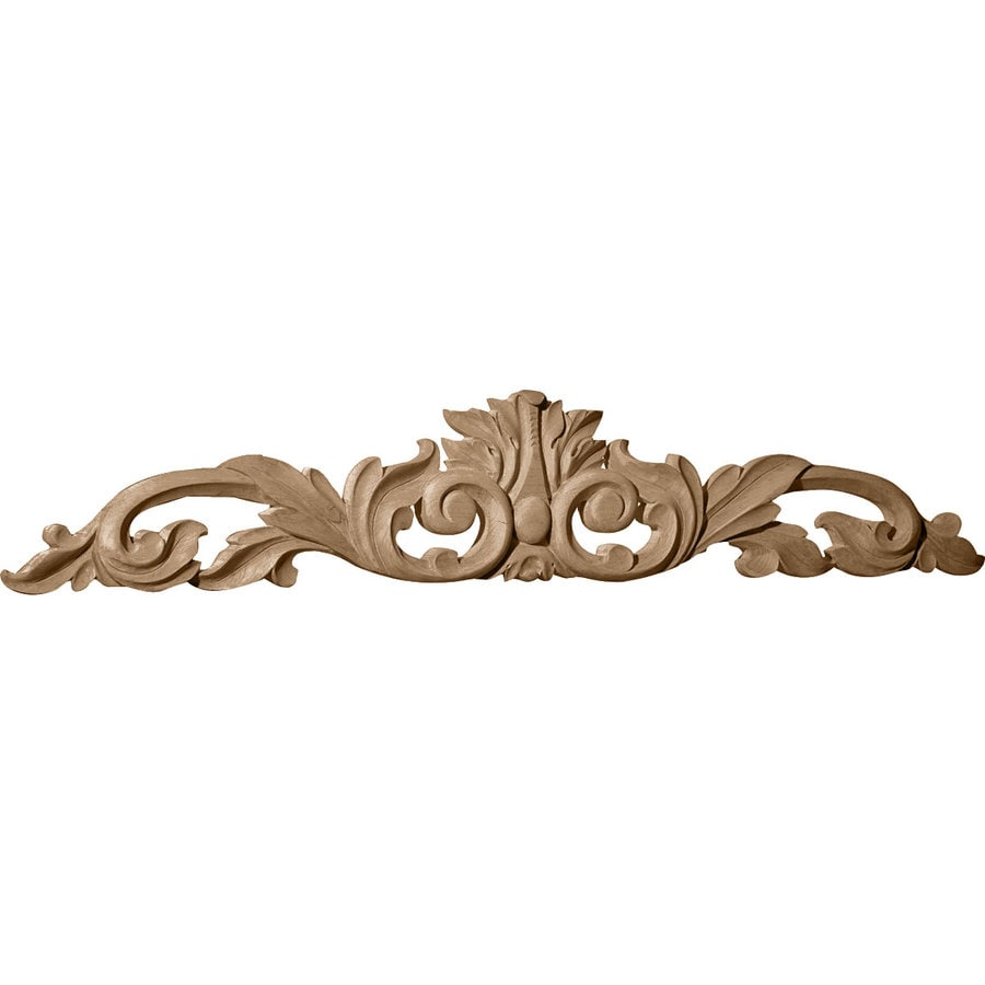 Ekena Millwork 12.25-in x 3.25-in Leaf with Scrolls Wood Applique