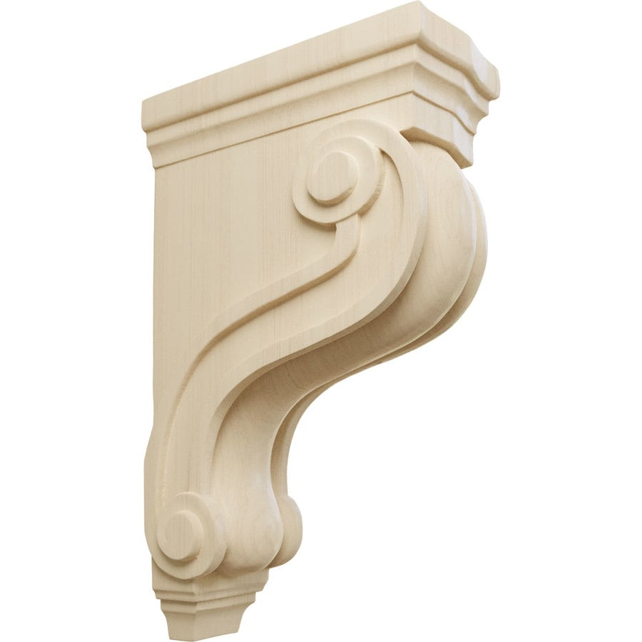 Ekena Millwork 3.875-in x 13-in Rubberwood Boston Traditional Scroll Wood Corbel