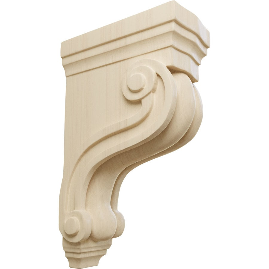 Ekena Millwork 3.375-in x 10.5-in Rubberwood Boston Traditional Scroll Wood Corbel