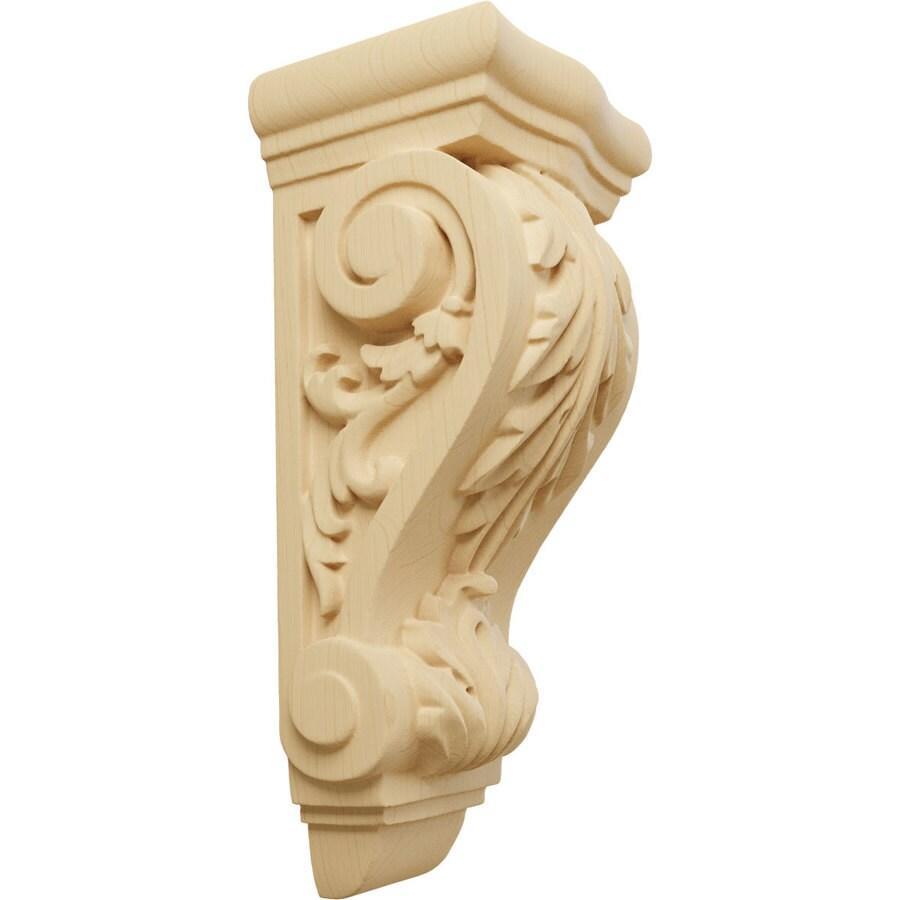 Ekena Millwork 3.5-in x 7.75-in Alder Acanthus Wood Corbel