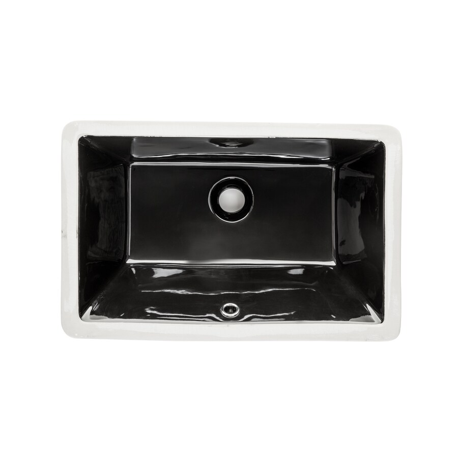 Superior Sinks Black/Glazed Porcelain Undermount Rectangular Bathroom Sink  With Overflow