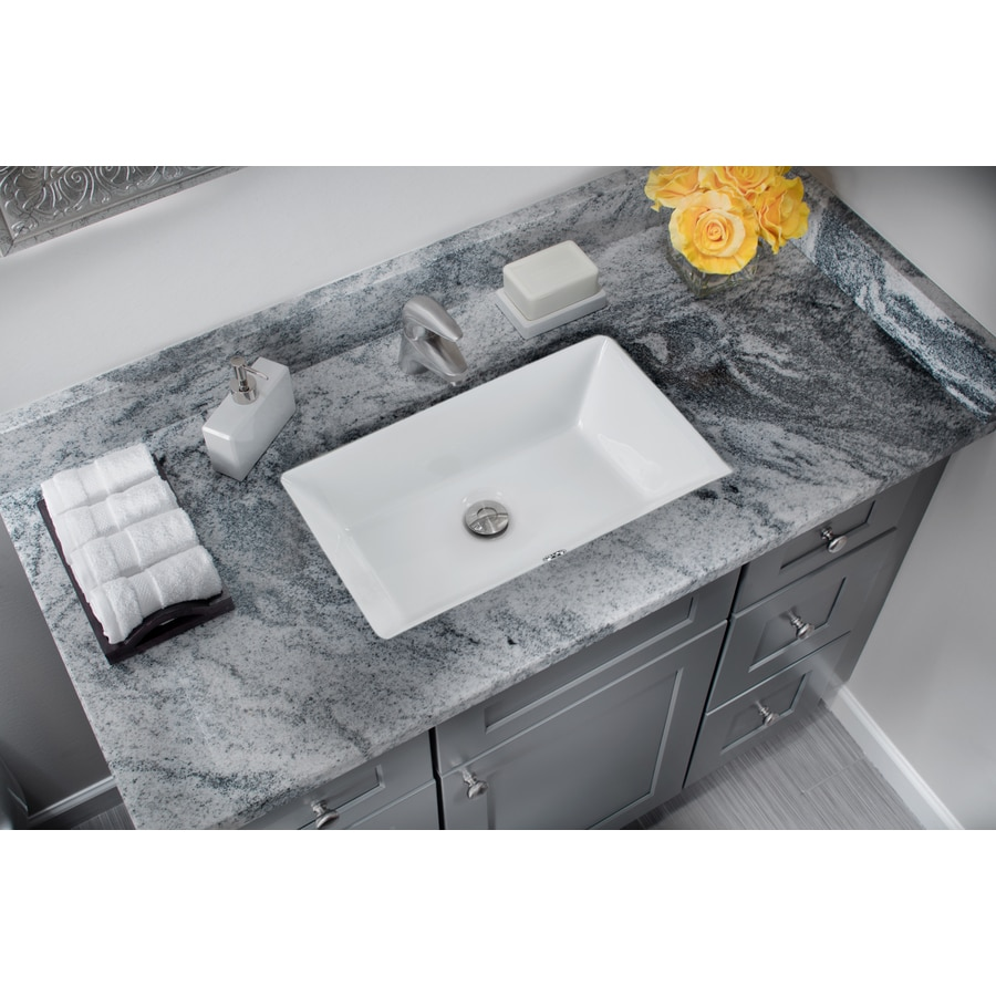 Superior Sinks White/Glazed Porcelain Undermount Rectangular Bathroom Sink with Overflow