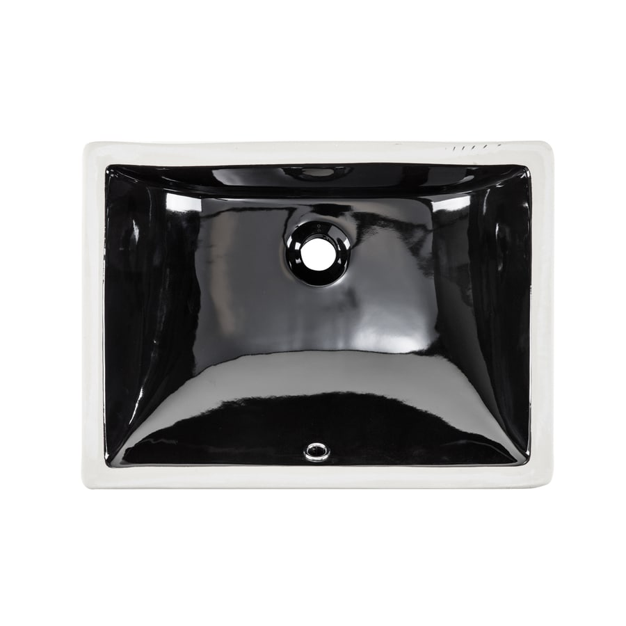 Shop Superior Sinks Black Glazed Porcelain Undermount Rectangular Bathroom Sink With Overflow At