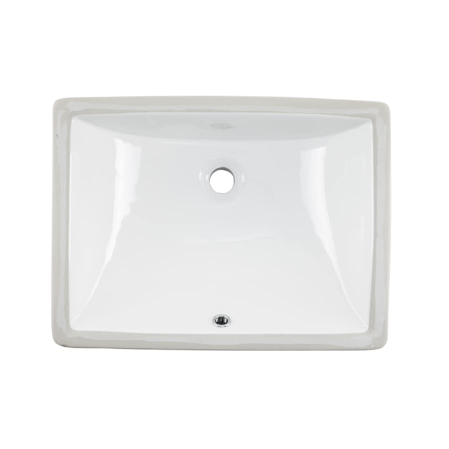Shop superior sinks white glazed porcelain undermount rectangular bathroom sink with overflow at for White porcelain bathroom faucets