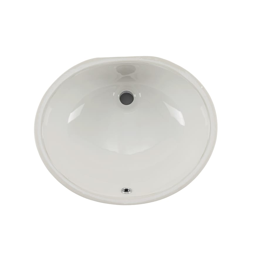 Superior Sinks White/Glazed Porcelain Undermount Oval Bathroom Sink with Overflow