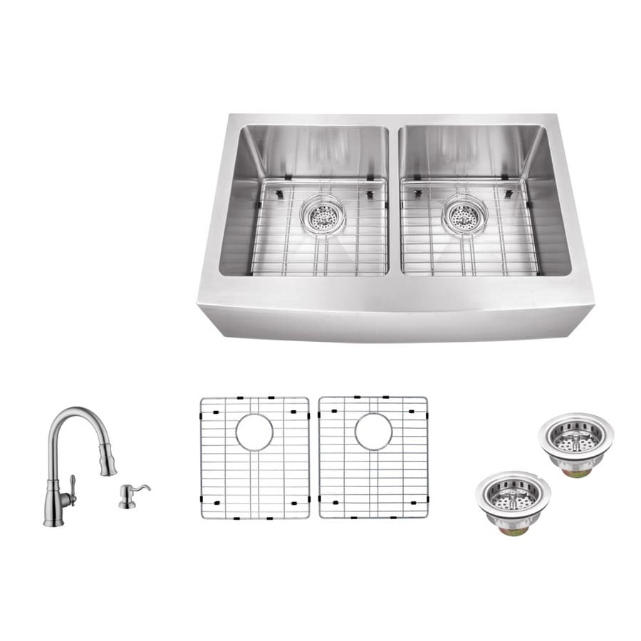Superior Sinks 33-in x 20-in Brushed Satin Single-Basin-Basin Stainless Steel Apron Front/Farmhouse (Customizable)-Hole Residential Kitchen Sink All-In-One Kit