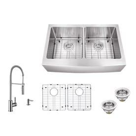 Superior Sinks 33 In X 20 In Brushed Satin Double Basin Stainless Steel