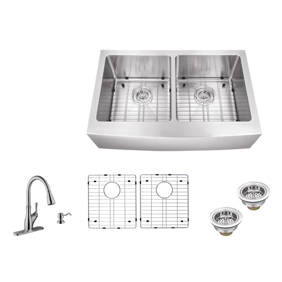Superior Sinks 33-in x 20-in Brushed Satin Double-Basin Apron Front/Farmhouse Commercial/Residential Kitchen Sink All-In-One Kit