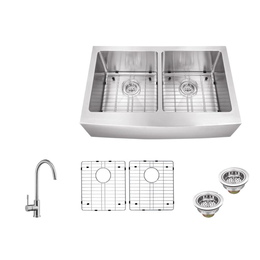 Superior Sinks 33-in x 20-in Brushed Satin Double-Basin Stainless Steel Apron Front/Farmhouse Residential Kitchen Sink All-In-One Kit