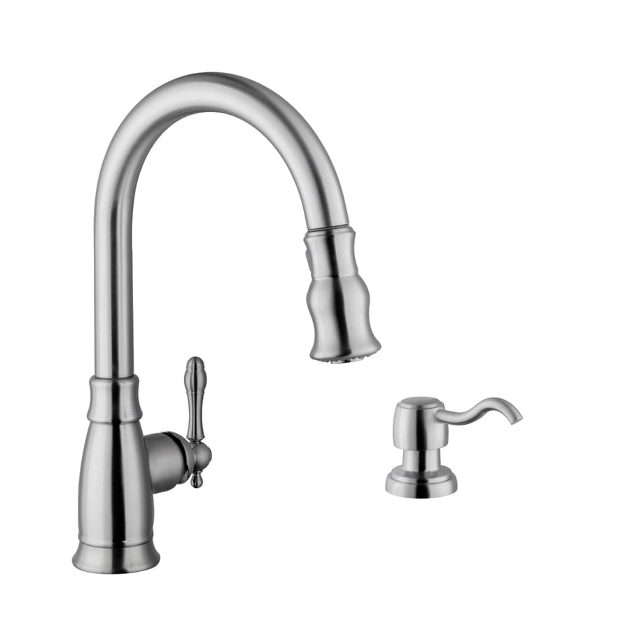 Superior Sinks Stainless Steel 1-Handle Deck Mount Pull-Down Kitchen Faucet