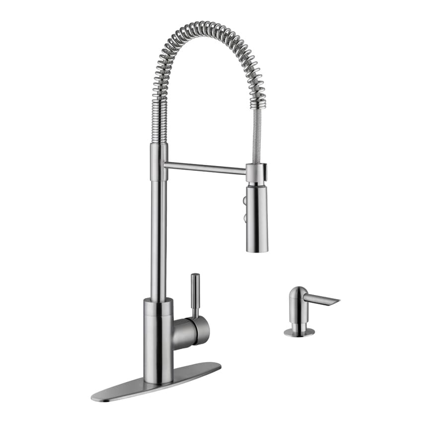 kitchen faucets faucet american in steel fairbury handle standard single pull stainless down sprayer p